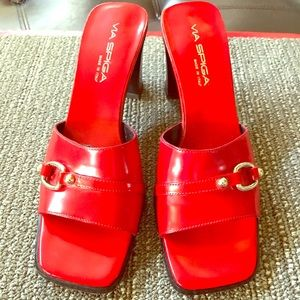Vintage Via Spiga RED slip on heels 7